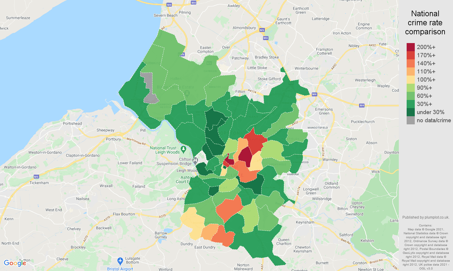 Bristol county drugs crime rate comparison map