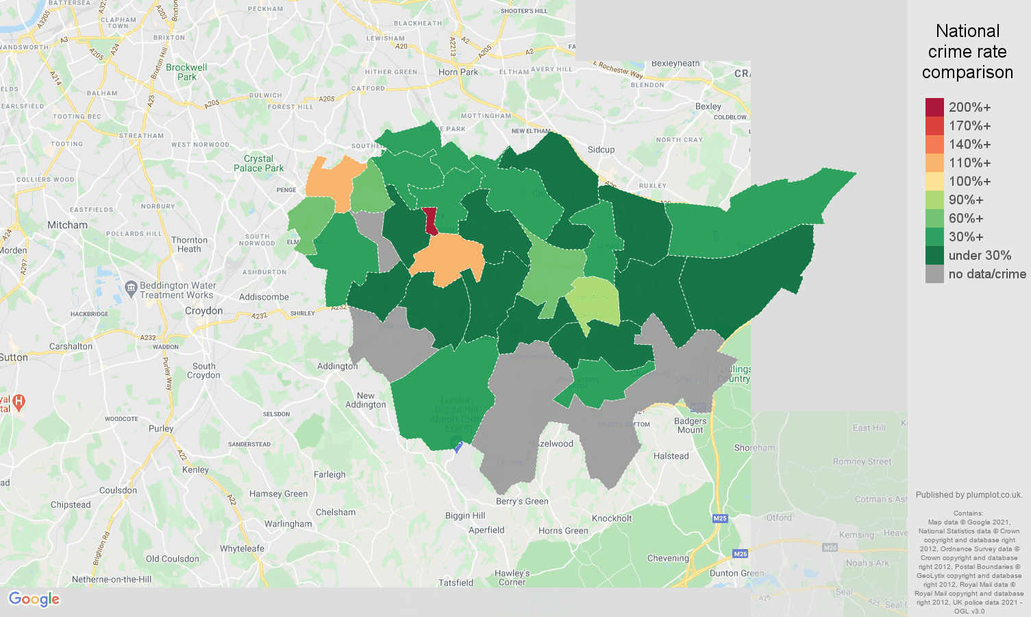 Bromley bicycle theft crime rate comparison map