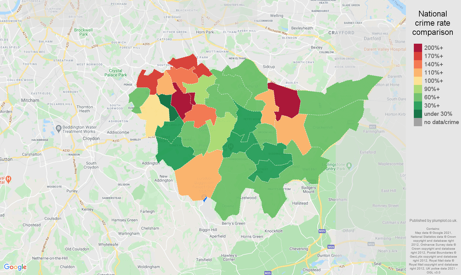 Bromley drugs crime rate comparison map