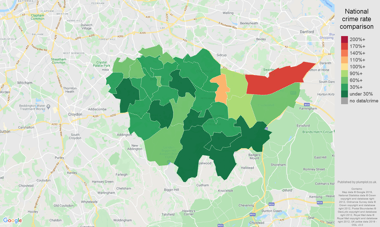 Bromley other crime rate comparison map