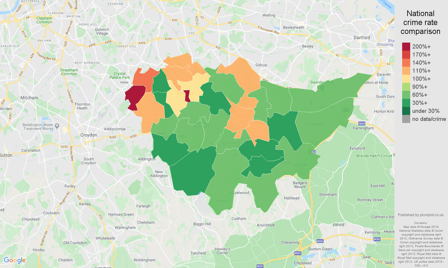 Bromley other theft crime rate comparison map