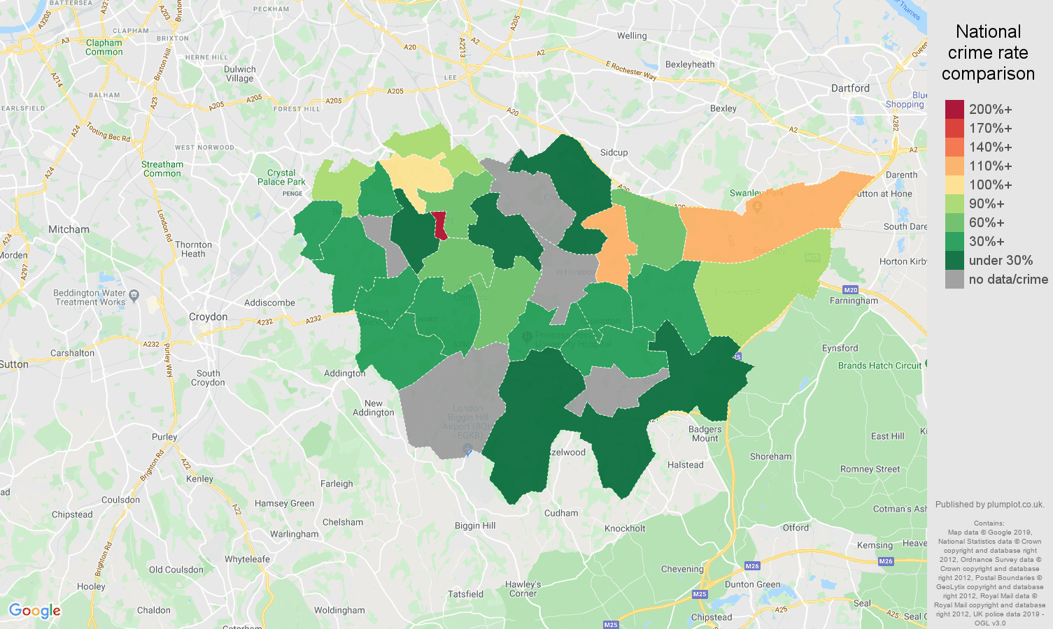 Bromley possession of weapons crime rate comparison map