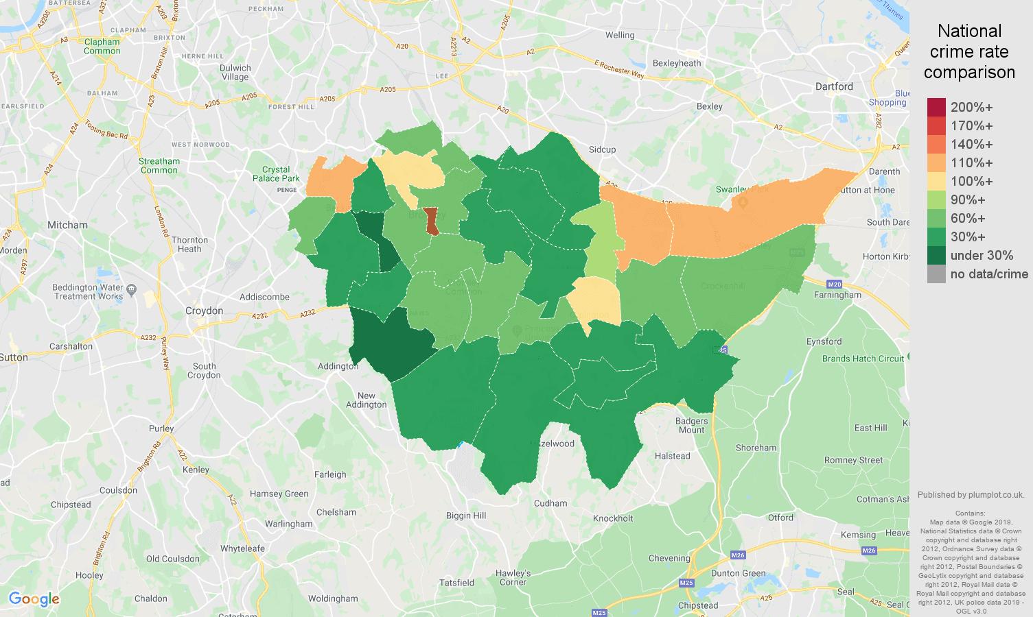 Bromley public order crime rate comparison map