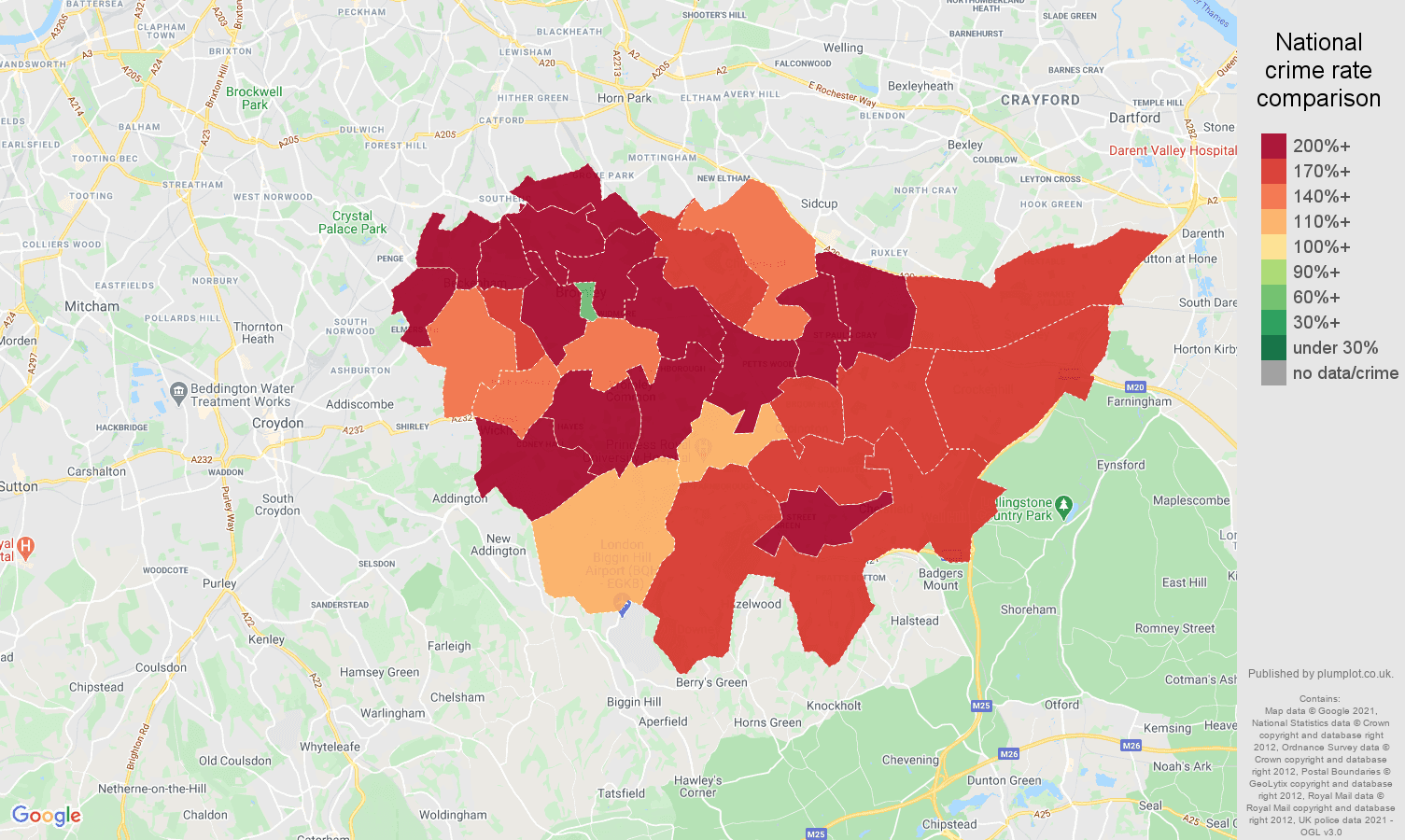 Bromley vehicle crime rate comparison map
