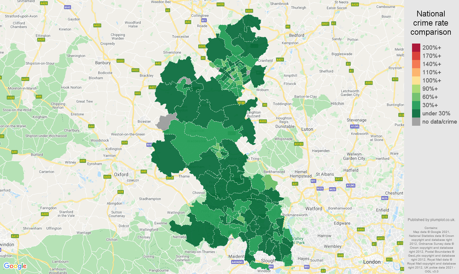 Buckinghamshire antisocial behaviour crime rate comparison map