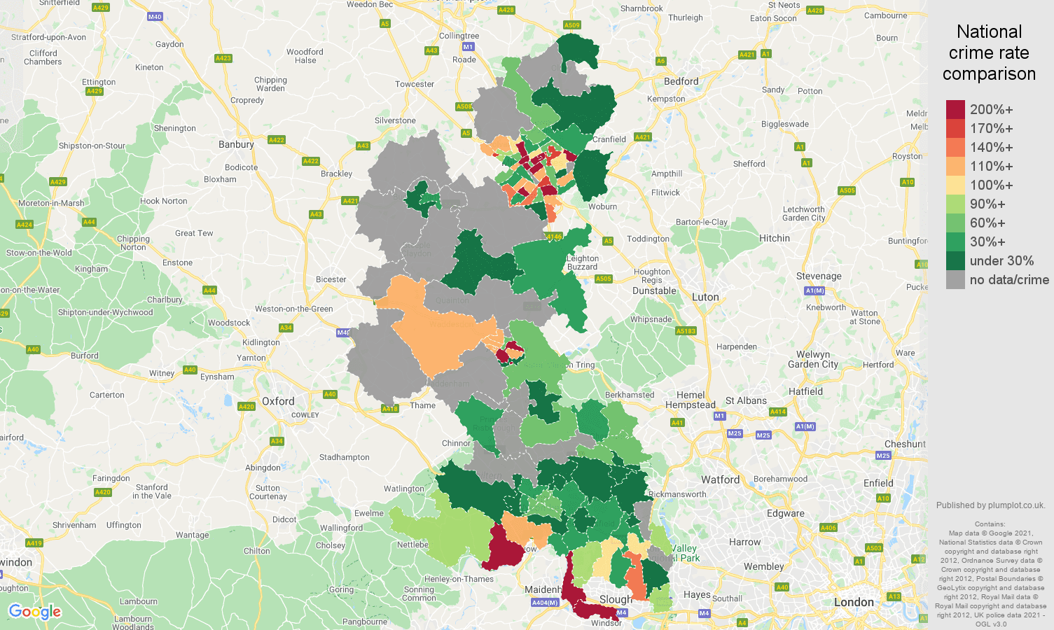 Buckinghamshire bicycle theft crime rate comparison map