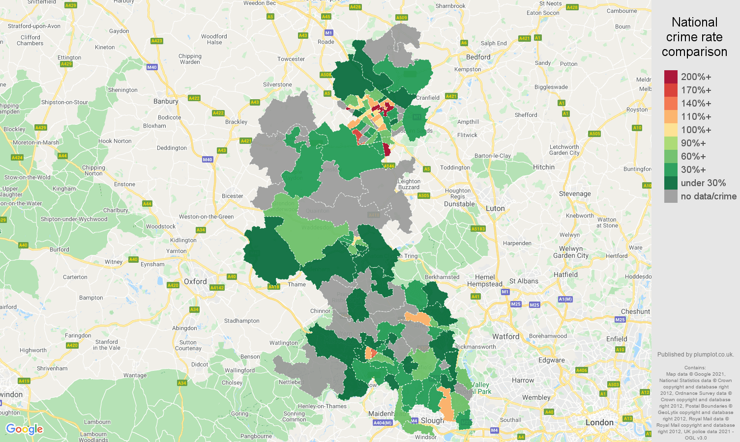 Buckinghamshire robbery crime rate comparison map