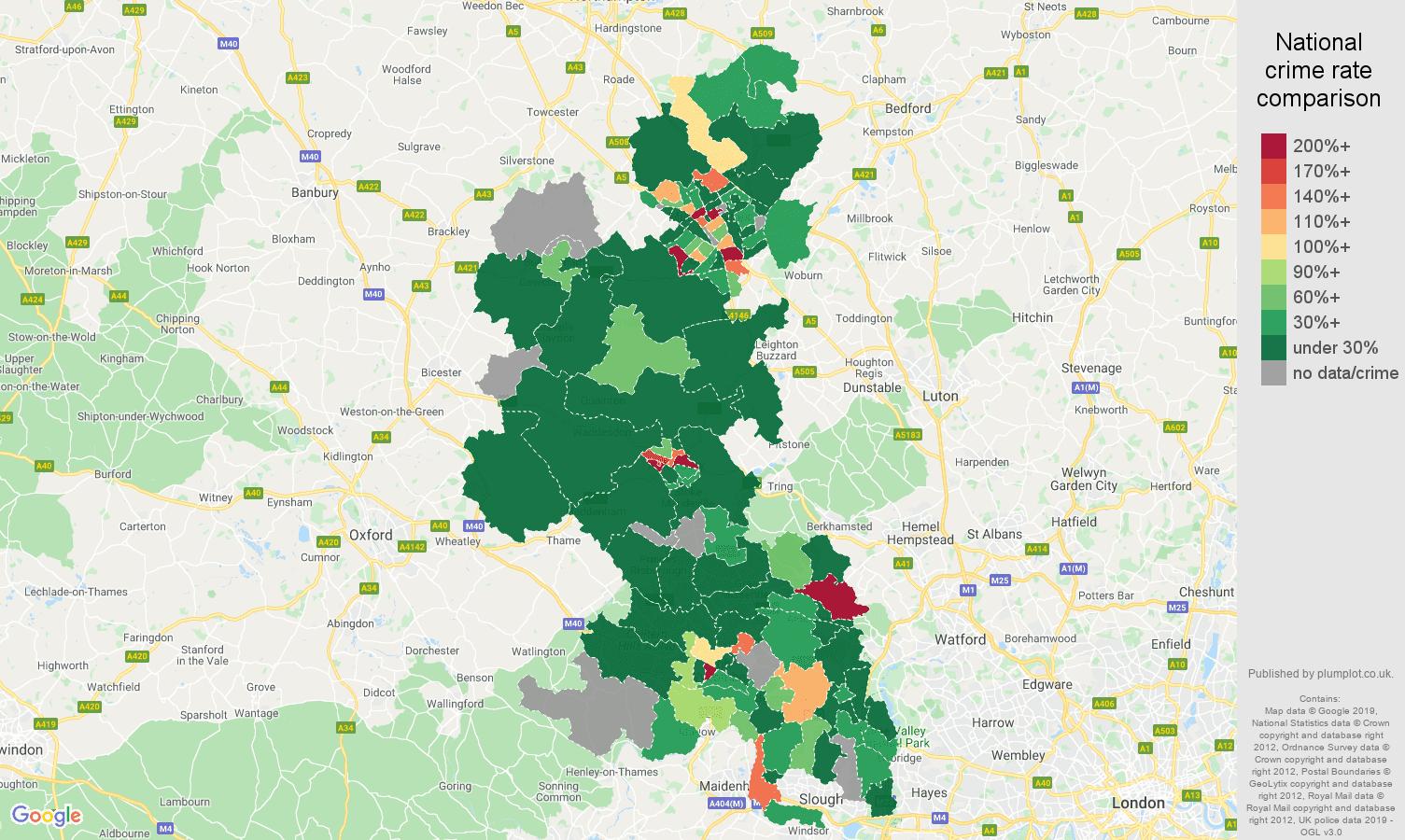 Buckinghamshire shoplifting crime rate comparison map