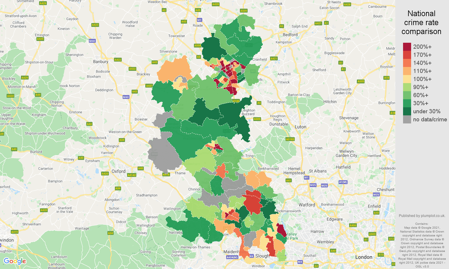 Buckinghamshire theft from the person crime rate comparison map