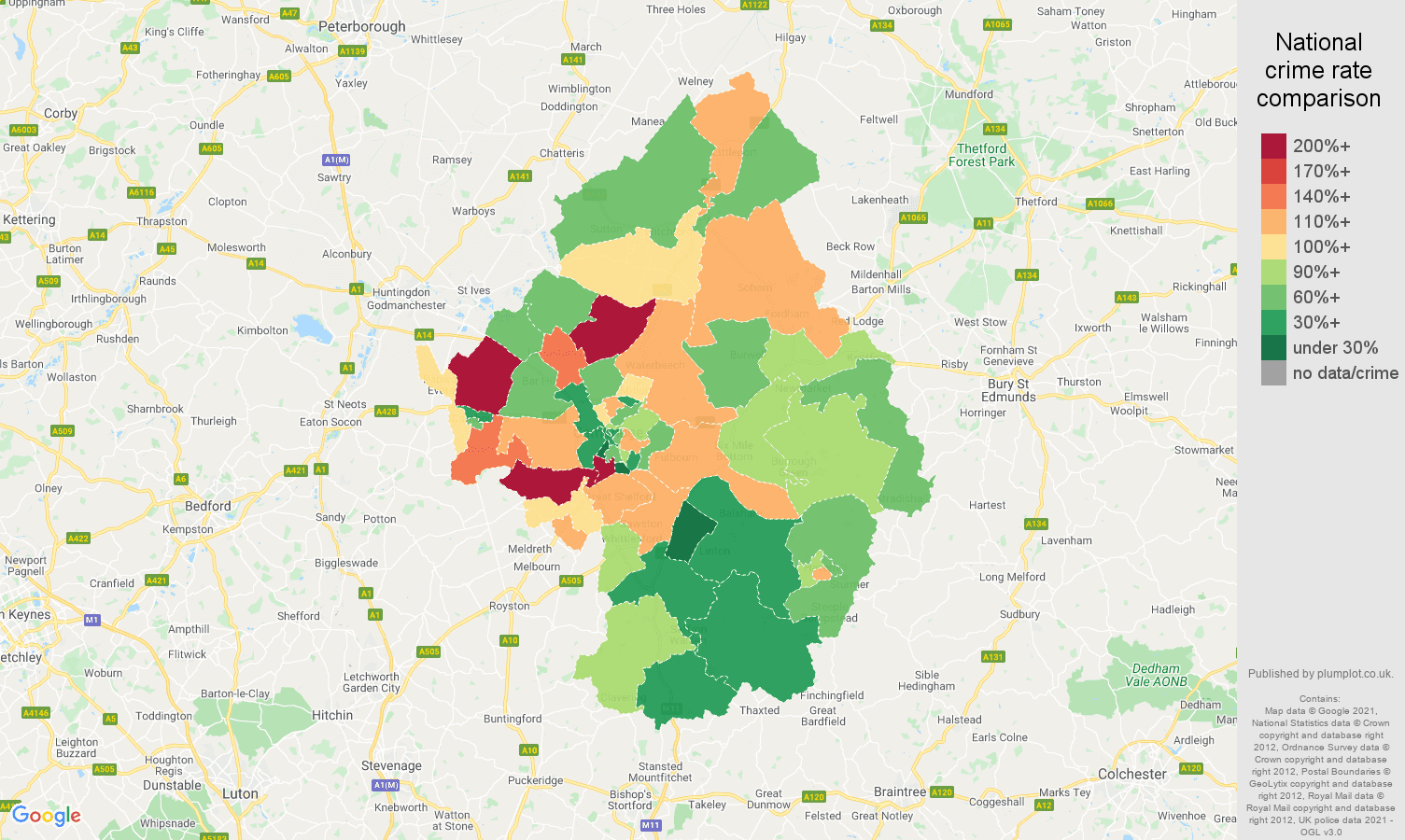 Cambridge burglary crime rate comparison map