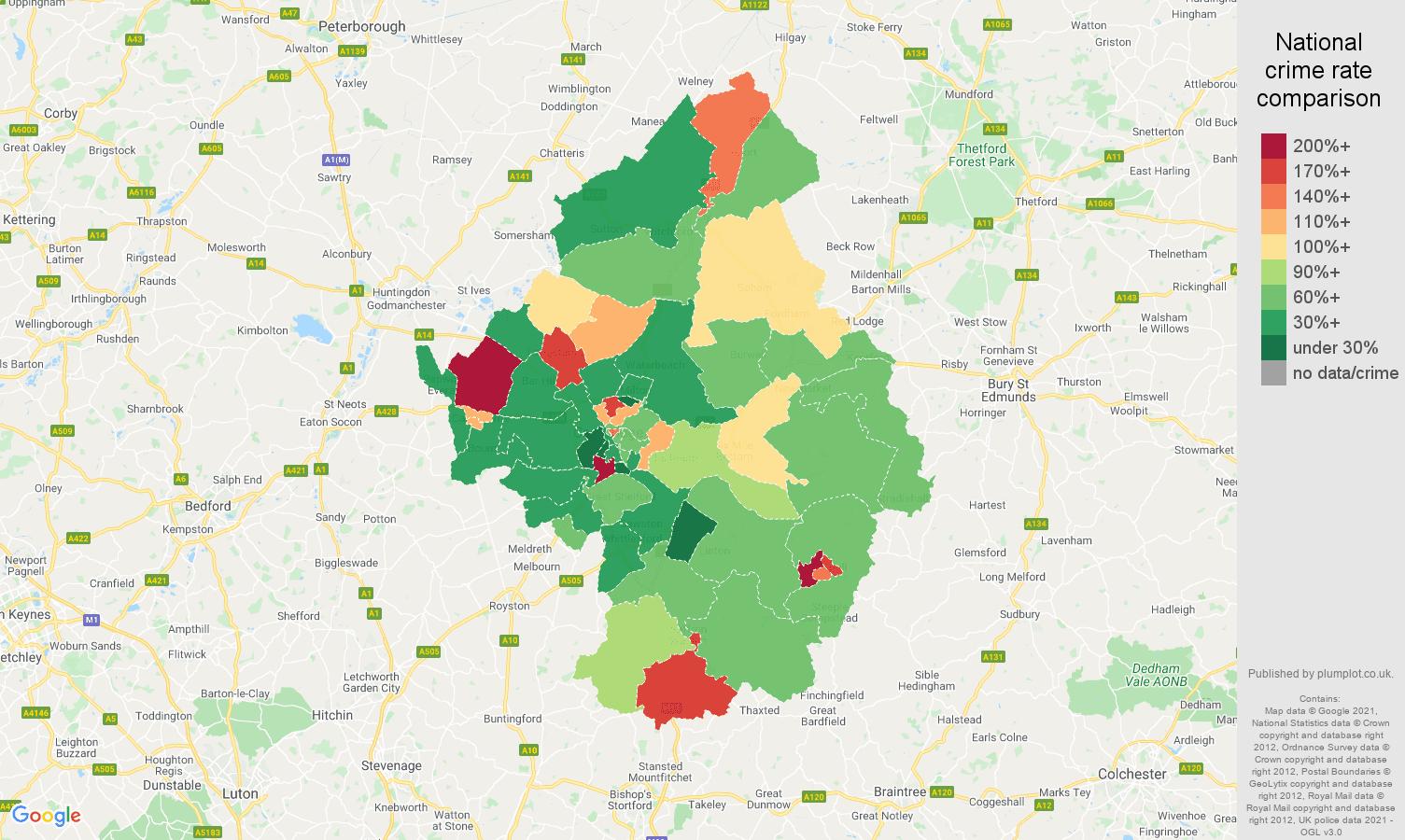 Cambridge criminal damage and arson crime rate comparison map