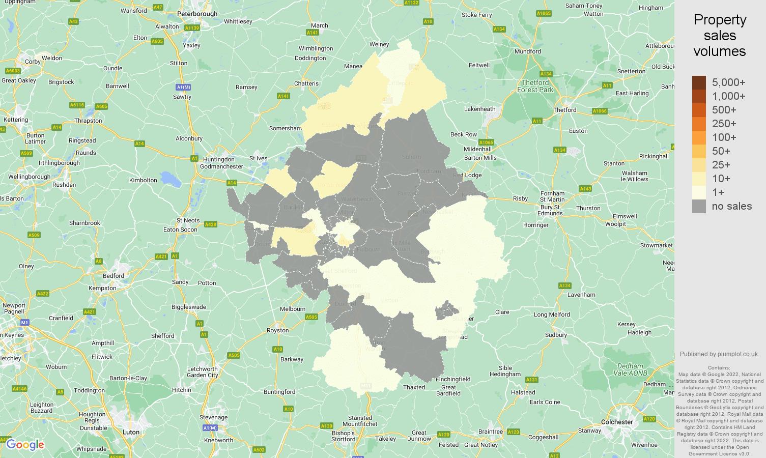Cambridge map of sales of new properties