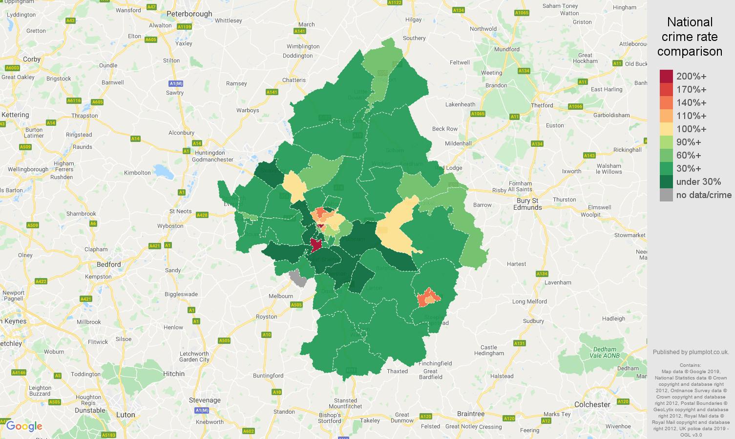 Cambridge public order crime rate comparison map