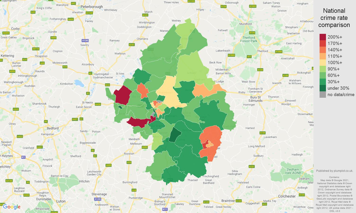 Cambridge vehicle crime rate comparison map
