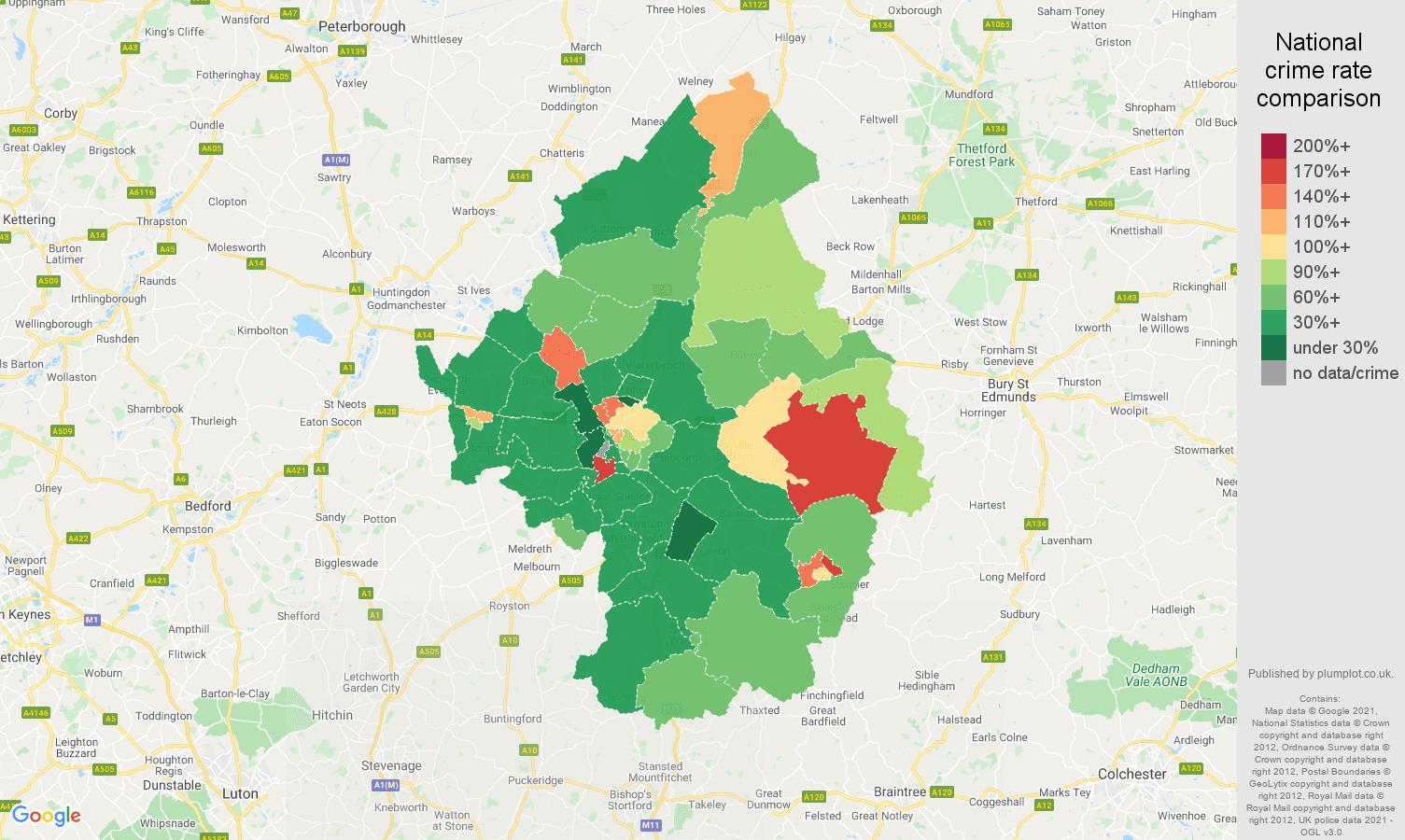 Cambridge violent crime rate comparison map