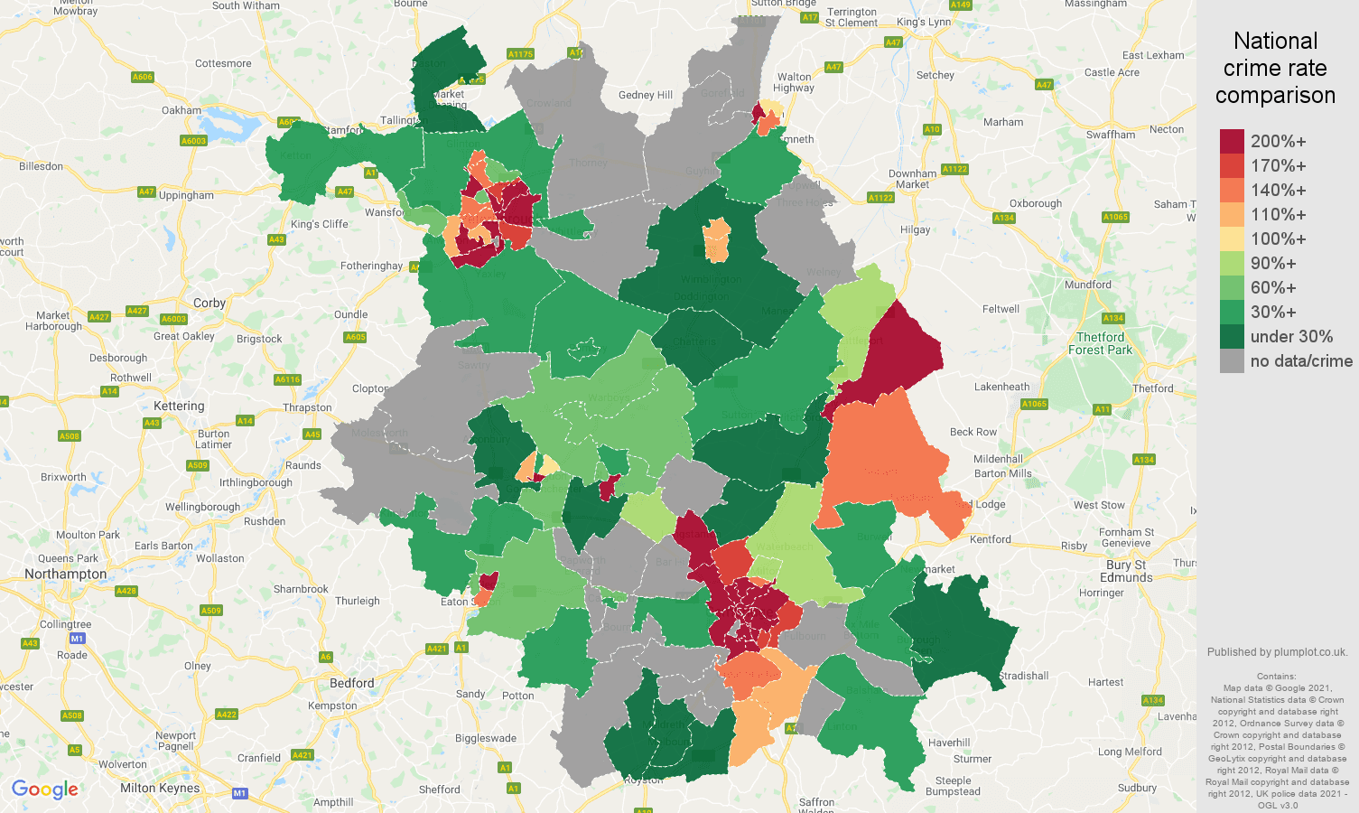 Cambridgeshire bicycle theft crime rate comparison map