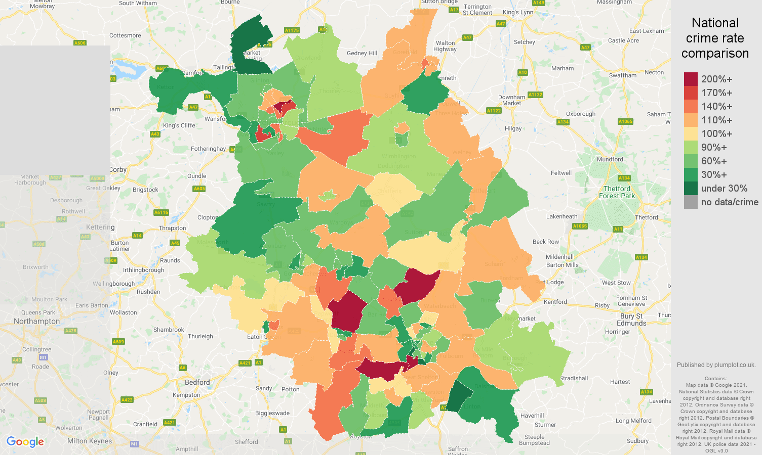 Cambridgeshire burglary crime rate comparison map