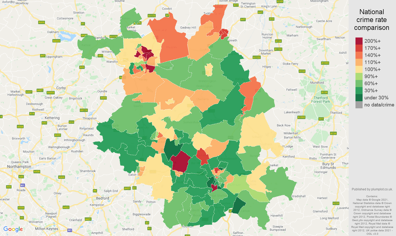 Cambridgeshire criminal damage and arson crime rate comparison map