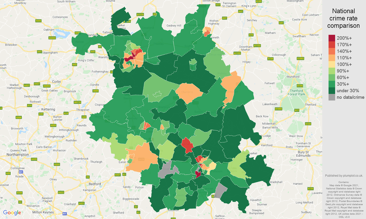 Cambridgeshire drugs crime rate comparison map