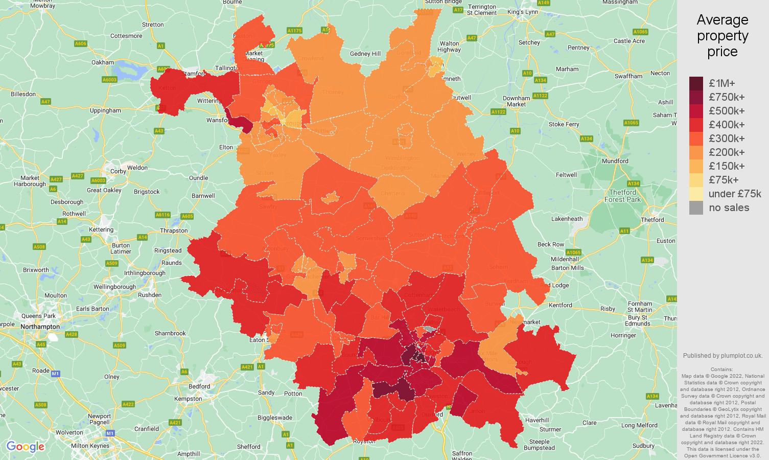 Cambridgeshire house prices map