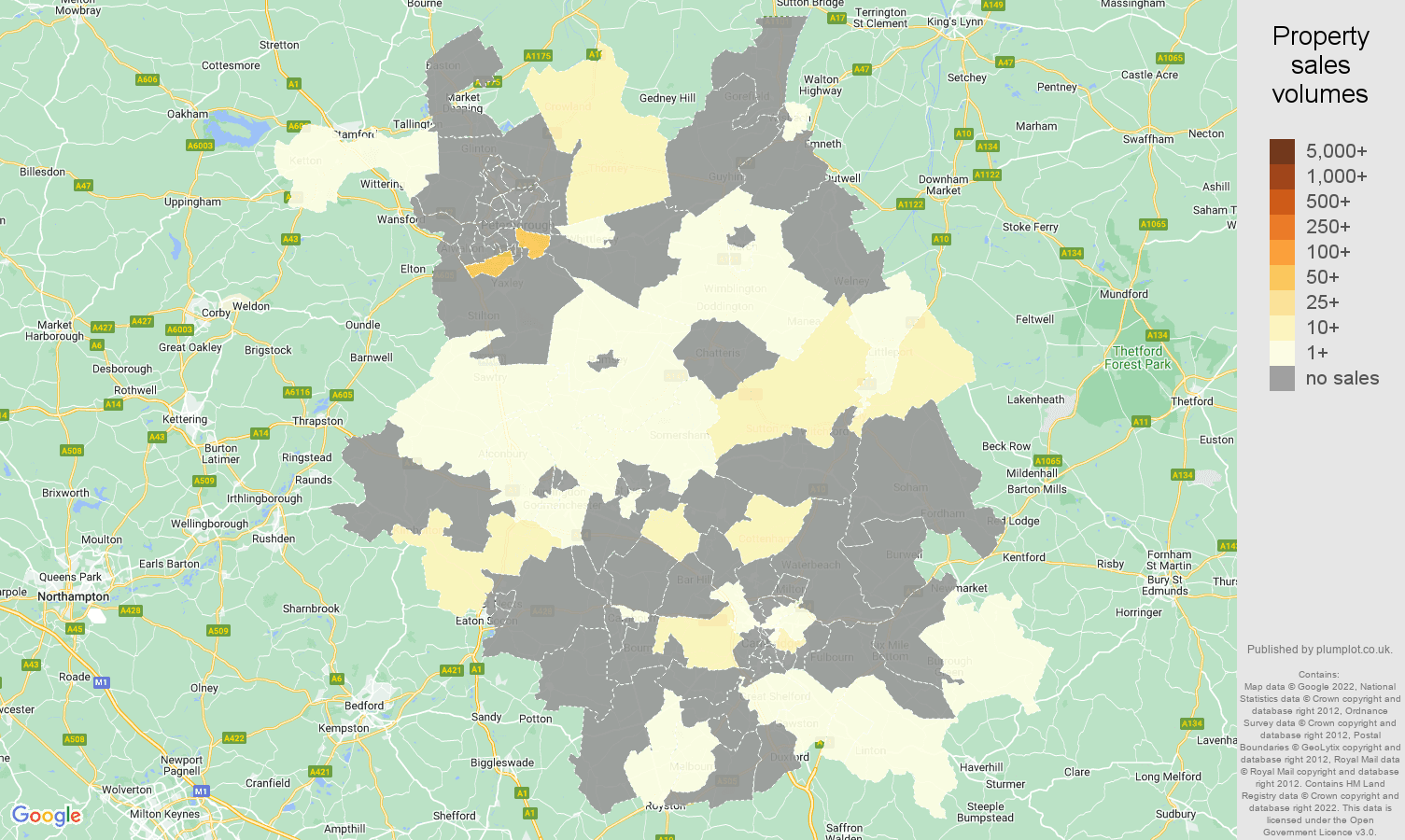 Cambridgeshire map of sales of new properties