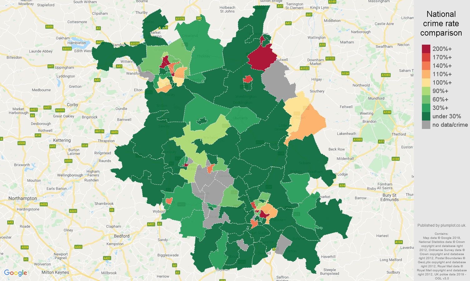 Cambridgeshire shoplifting crime rate comparison map