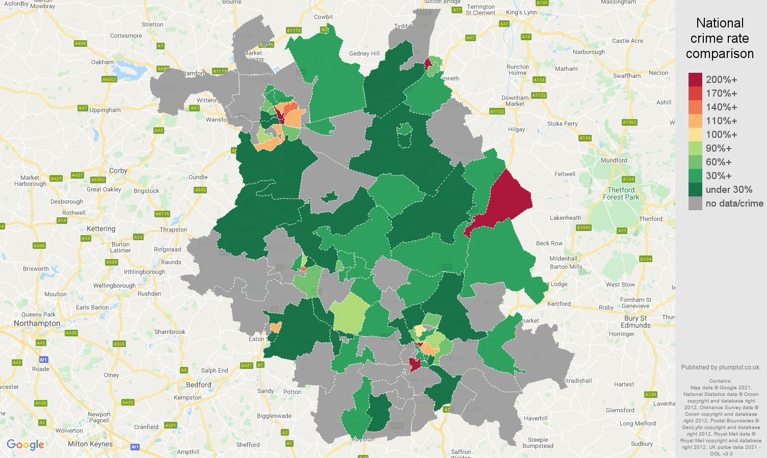 Cambridgeshire theft from the person crime rate comparison map