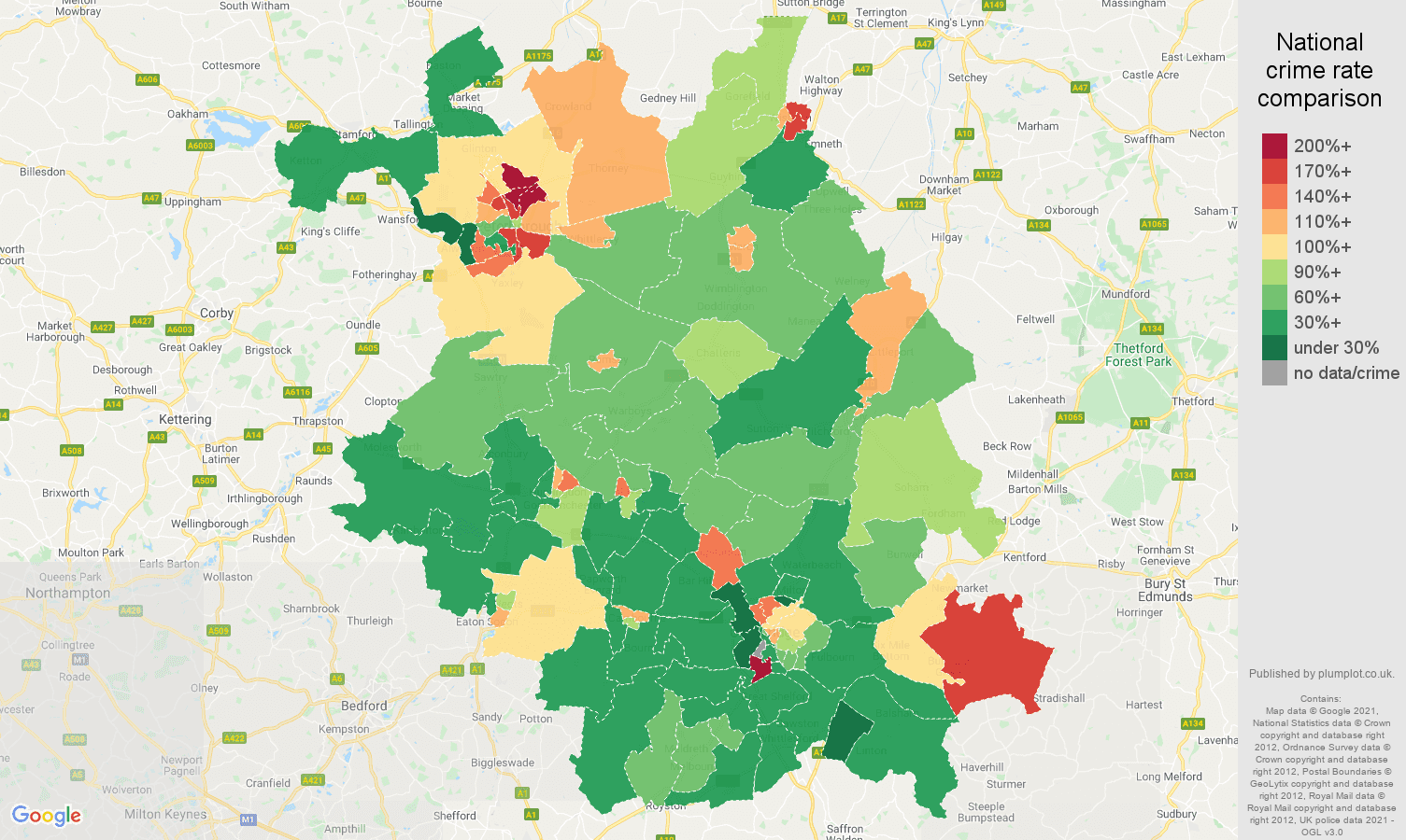 Cambridgeshire violent crime rate comparison map