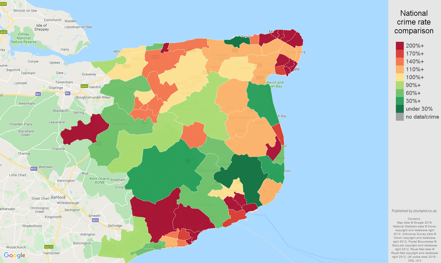 Canterbury other crime rate comparison map