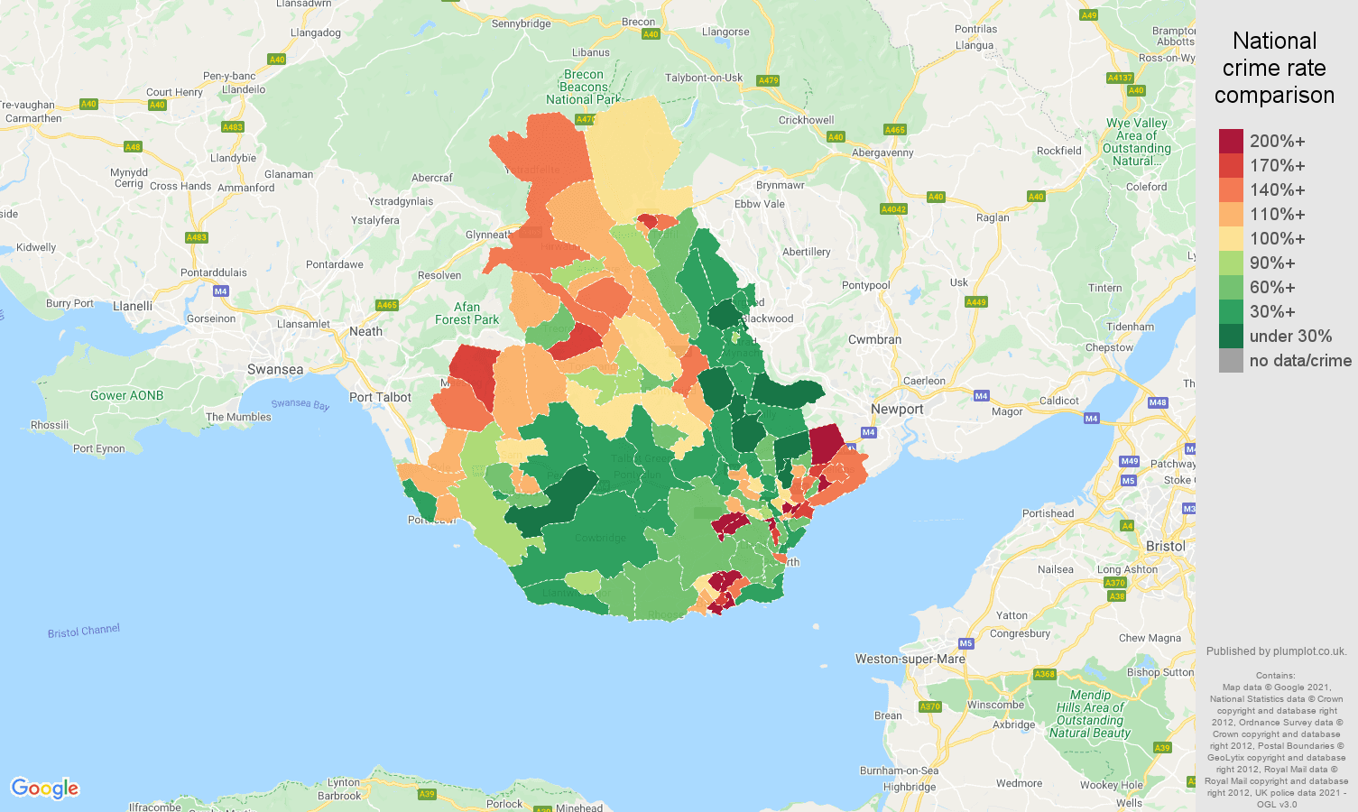 Cardiff criminal damage and arson crime rate comparison map