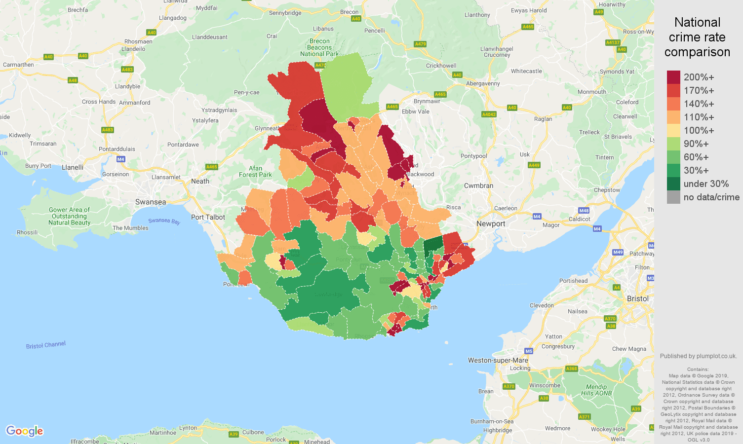 Cardiff public order crime rate comparison map
