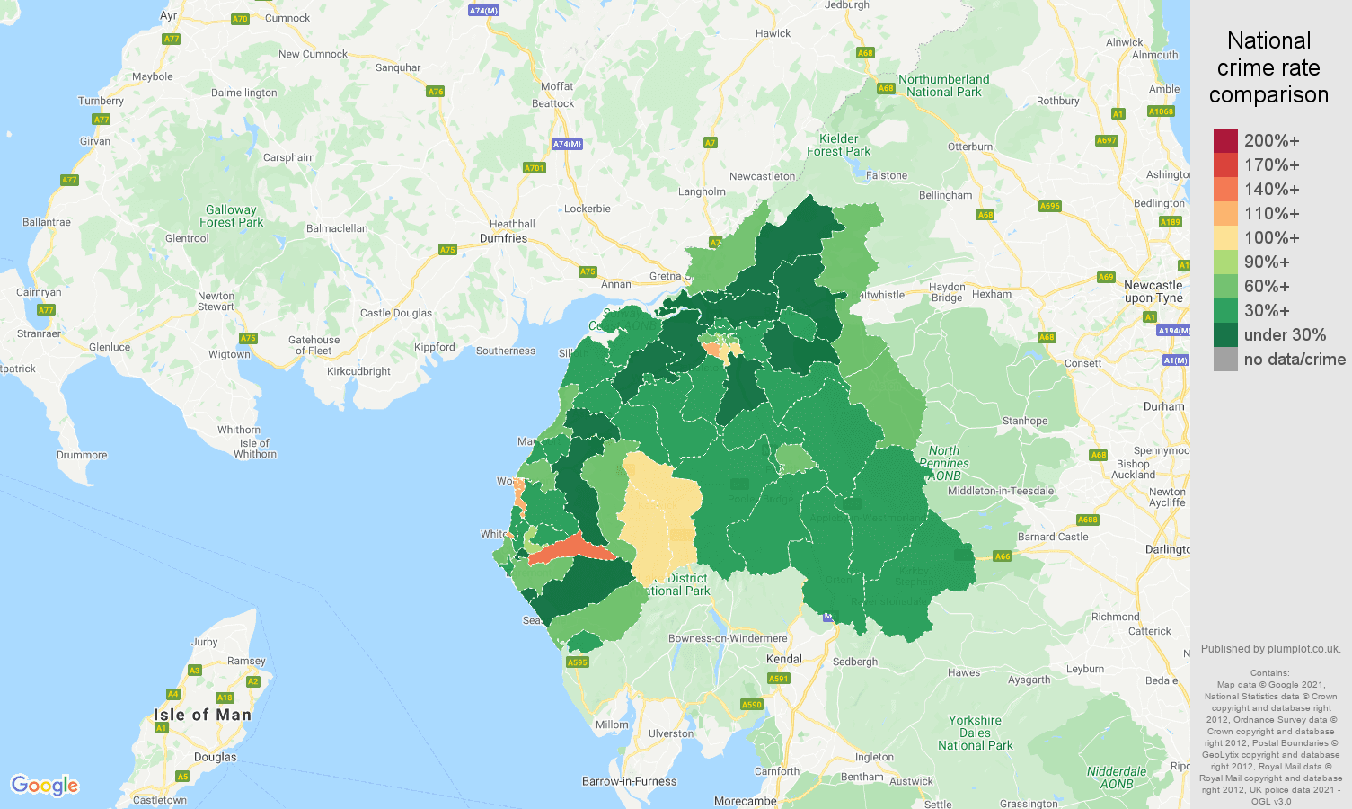 Carlisle antisocial behaviour crime rate comparison map