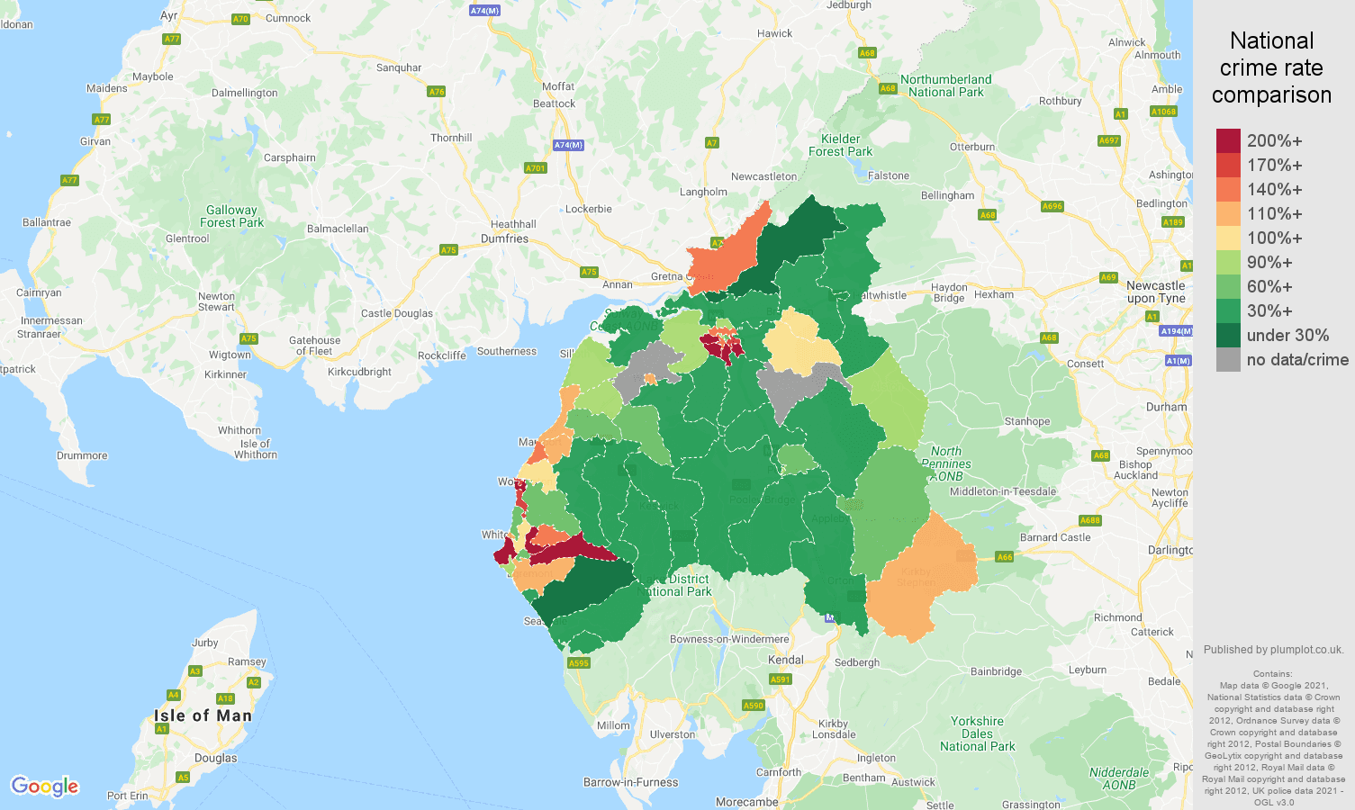 Carlisle criminal damage and arson crime rate comparison map