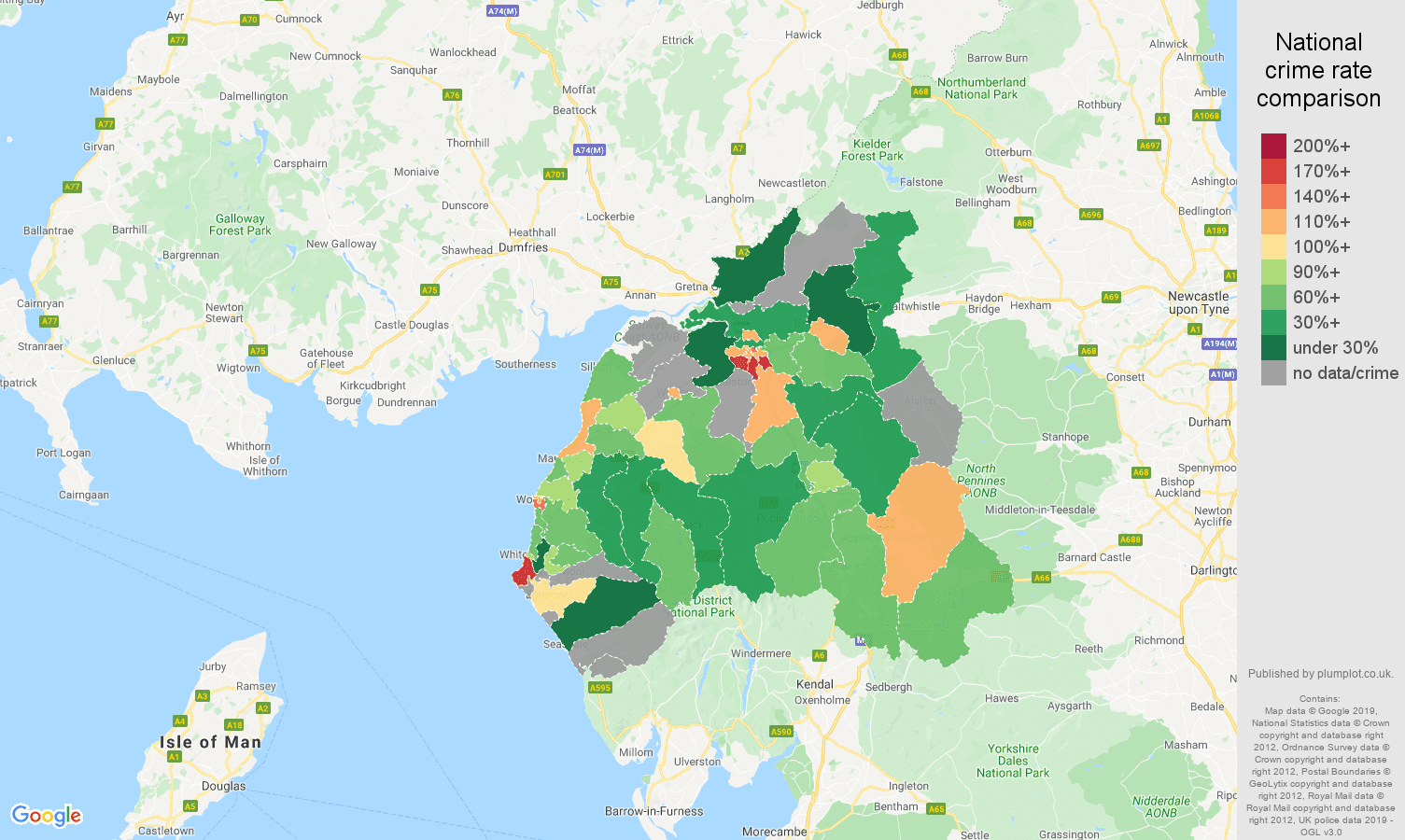 Carlisle other crime rate comparison map