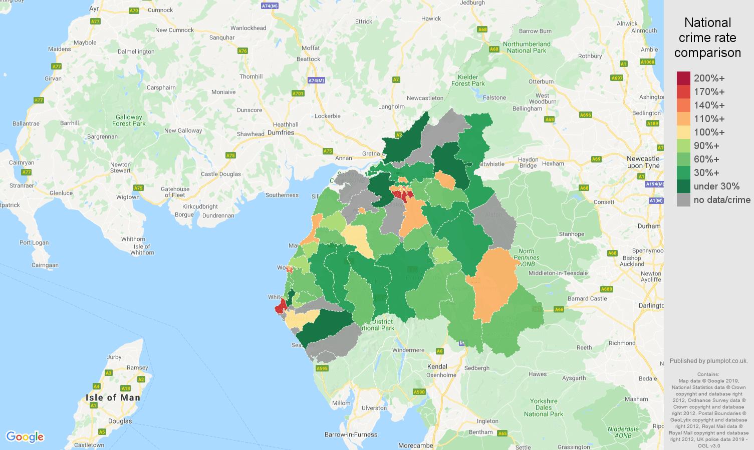 Carlisle other crime rate comparison map
