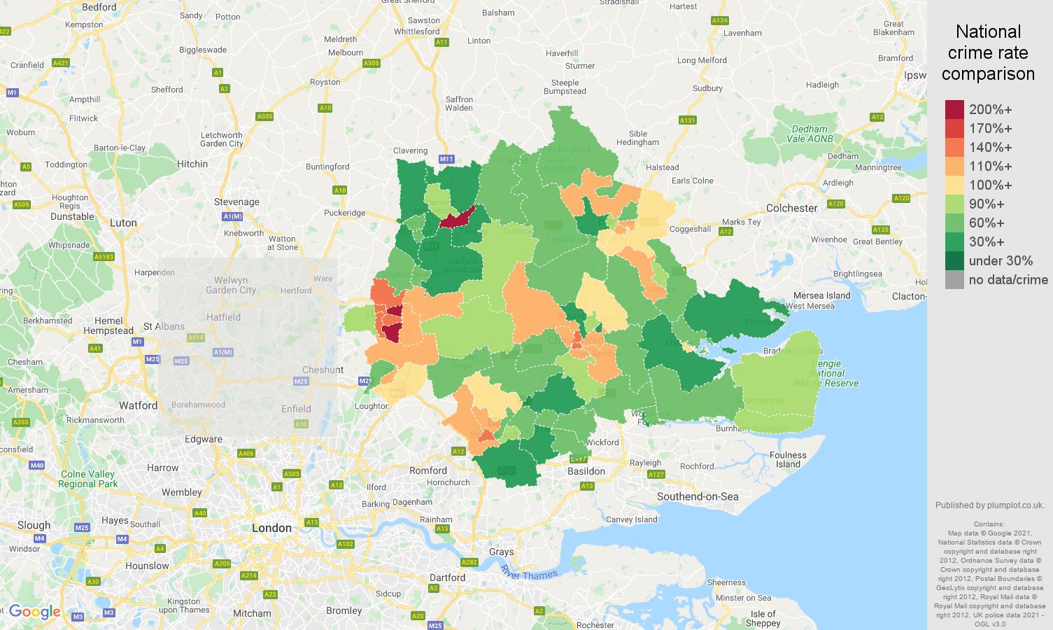 Chelmsford antisocial behaviour crime rate comparison map