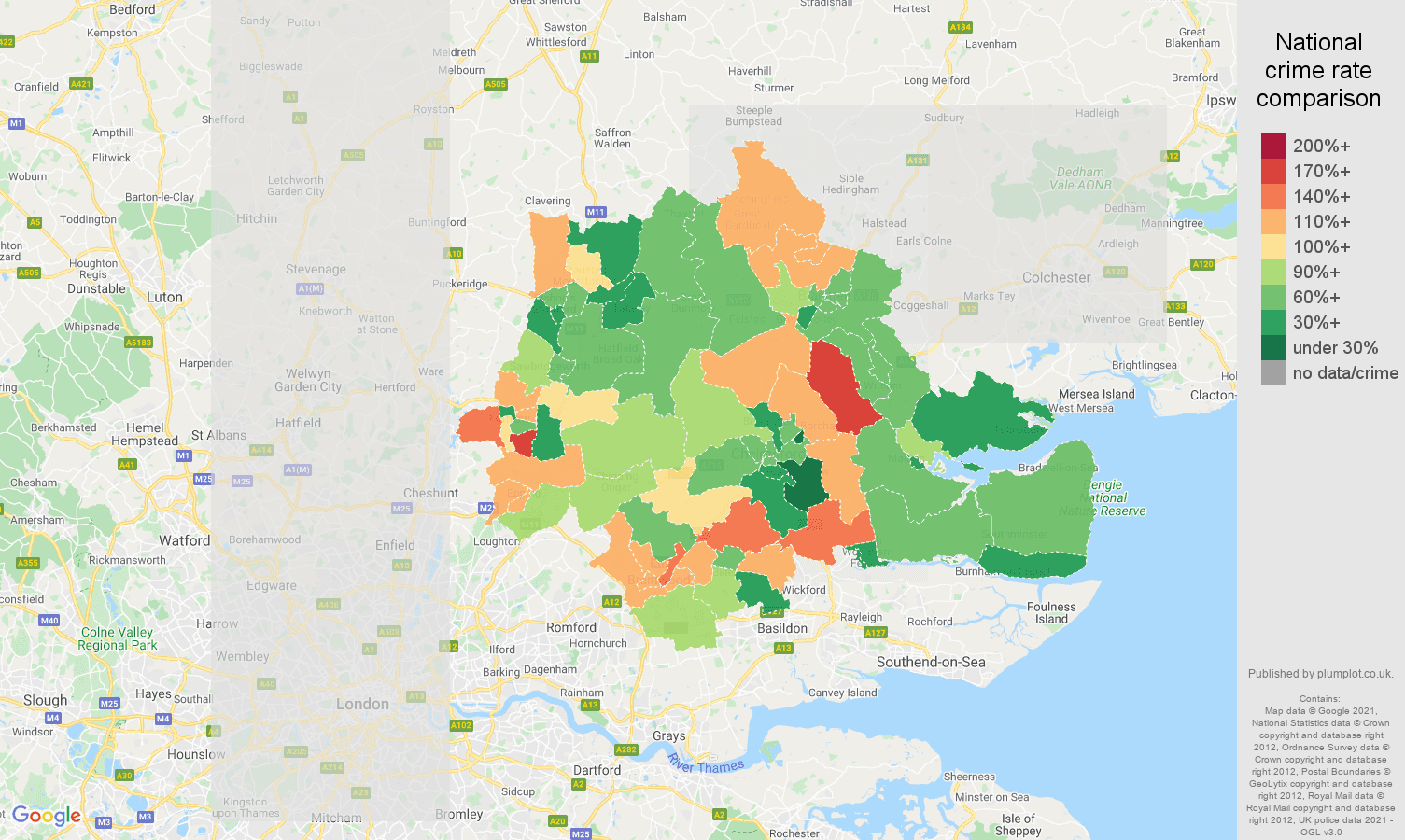 Chelmsford burglary crime rate comparison map