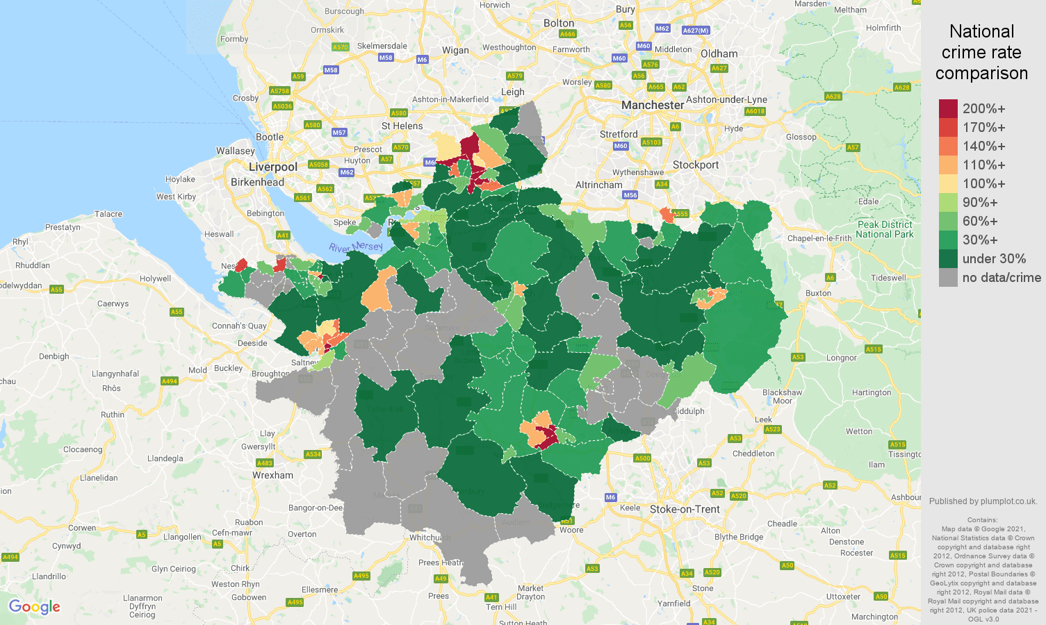 Cheshire bicycle theft crime rate comparison map