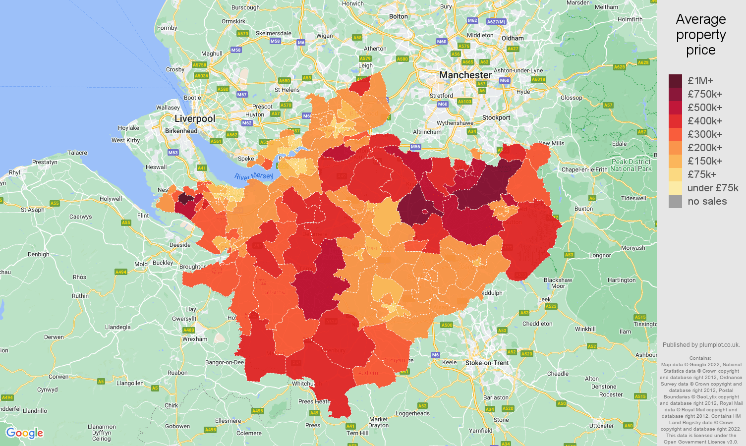 Cheshire house prices map
