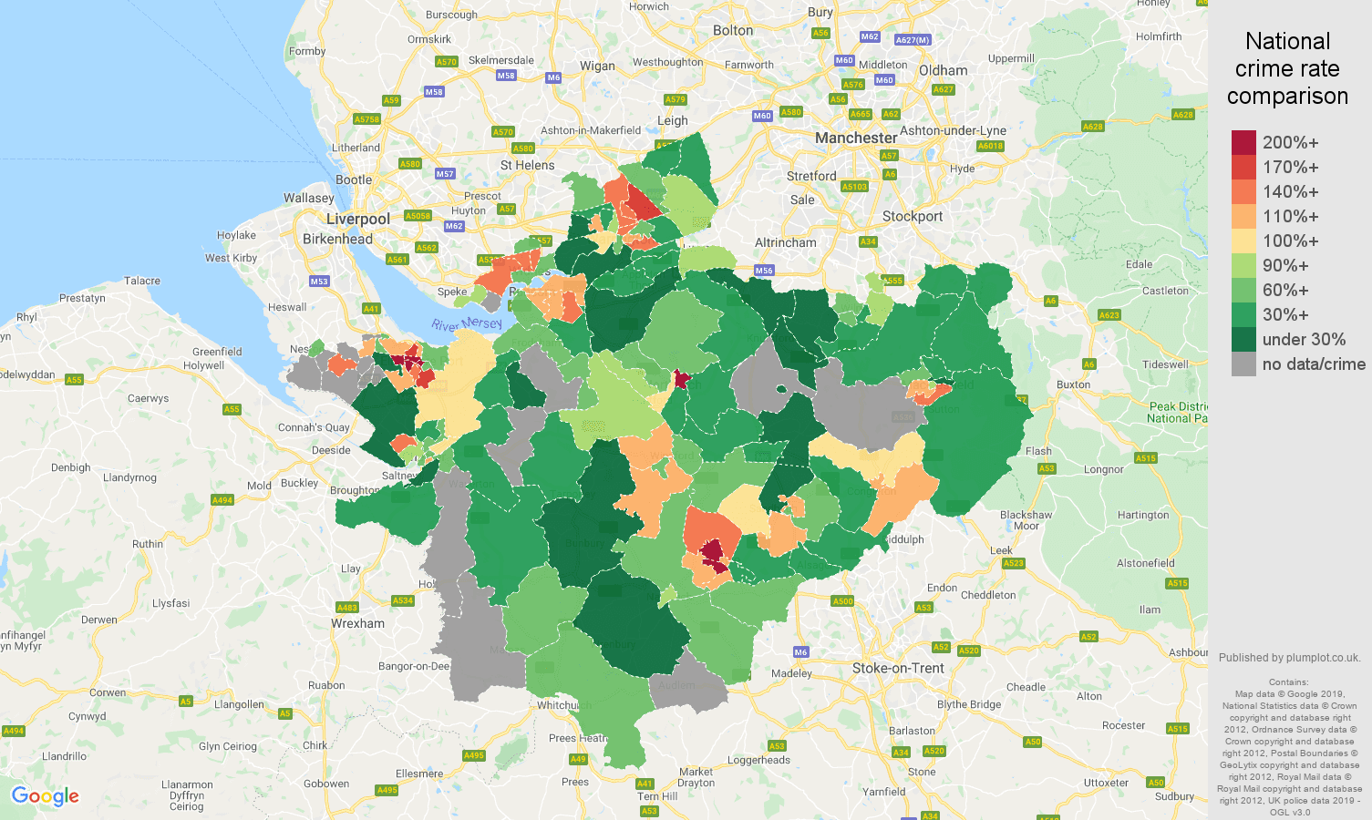 Cheshire other crime rate comparison map