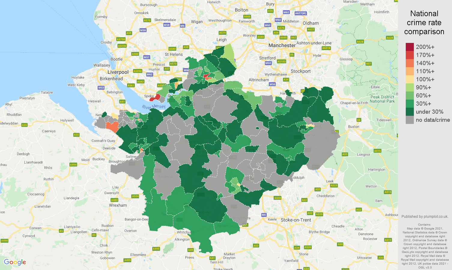 Cheshire robbery crime rate comparison map