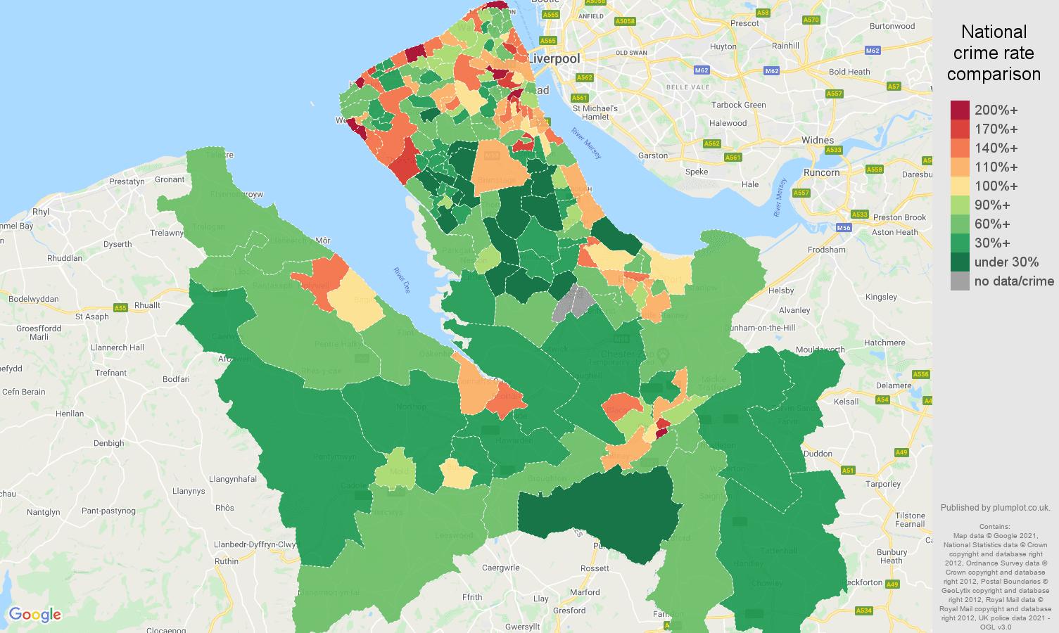 Chester antisocial behaviour crime rate comparison map