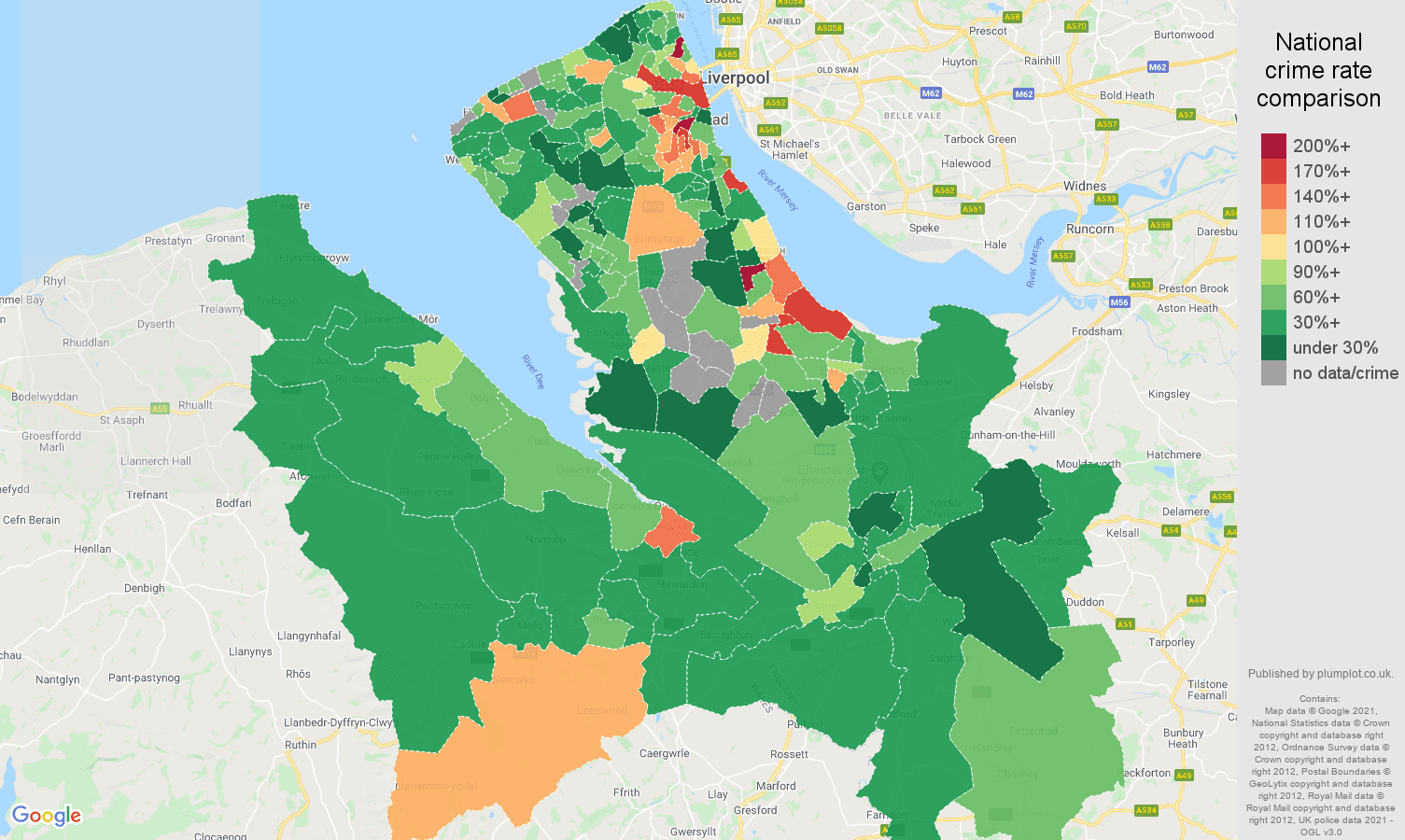 Chester burglary crime rate comparison map