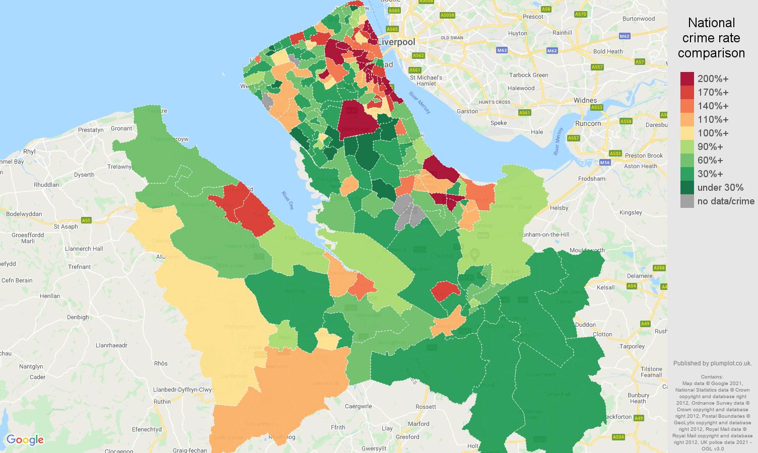 Chester criminal damage and arson crime rate comparison map