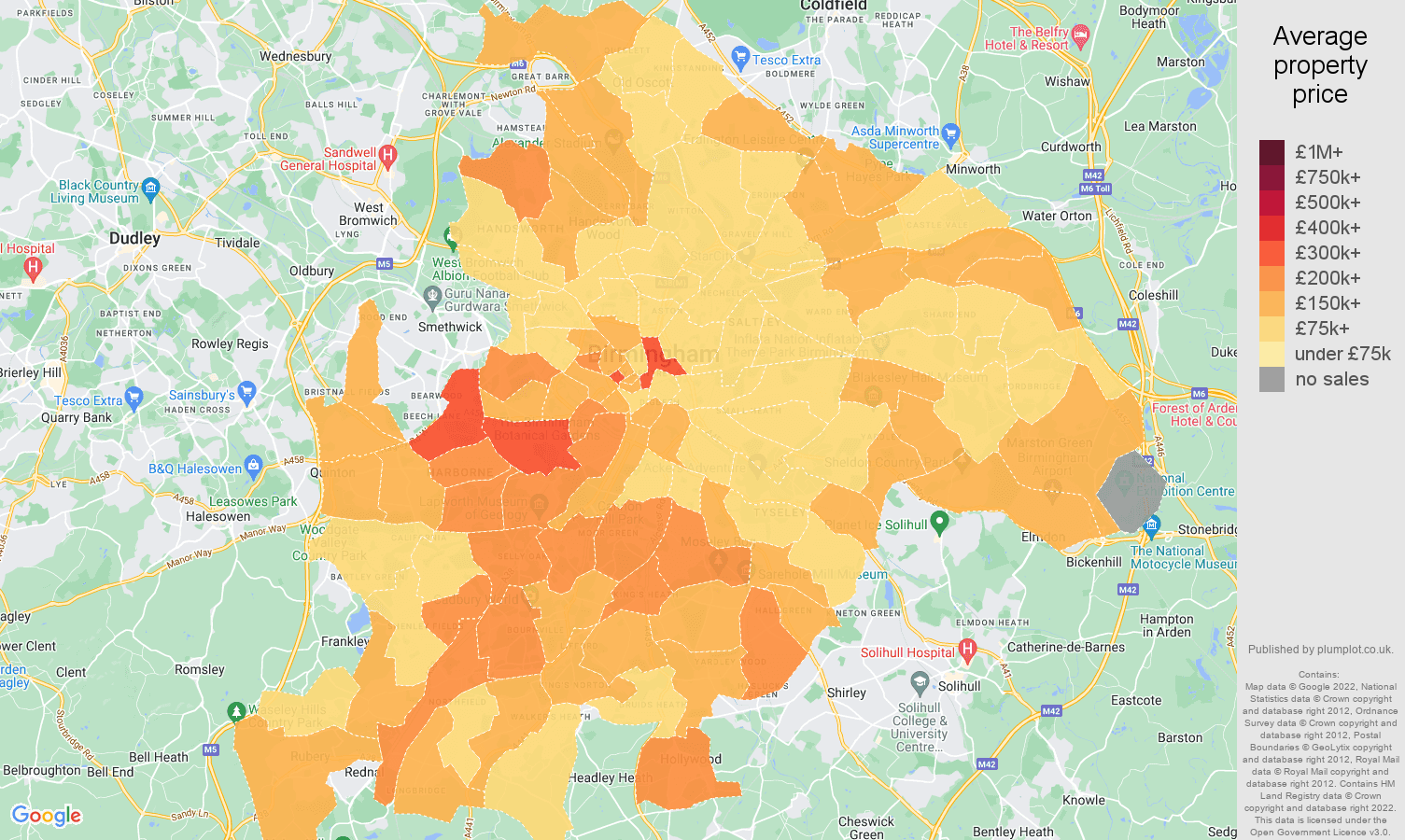 Birmingham house prices map