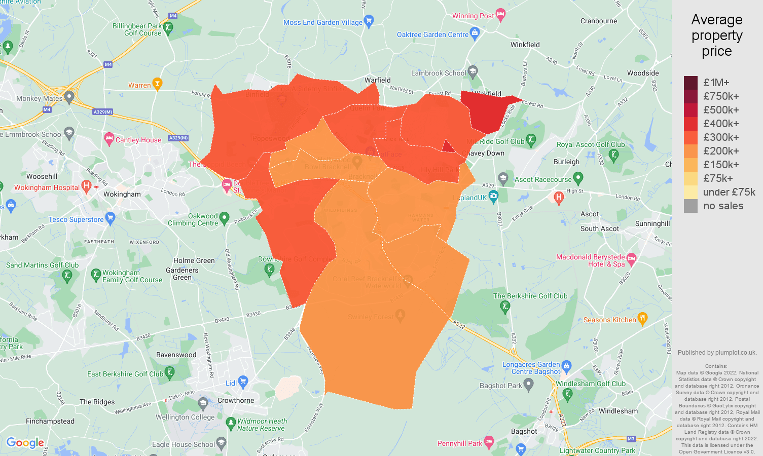Bracknell house prices map