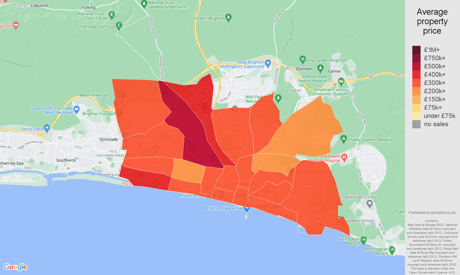 Brighton and Hove house prices map