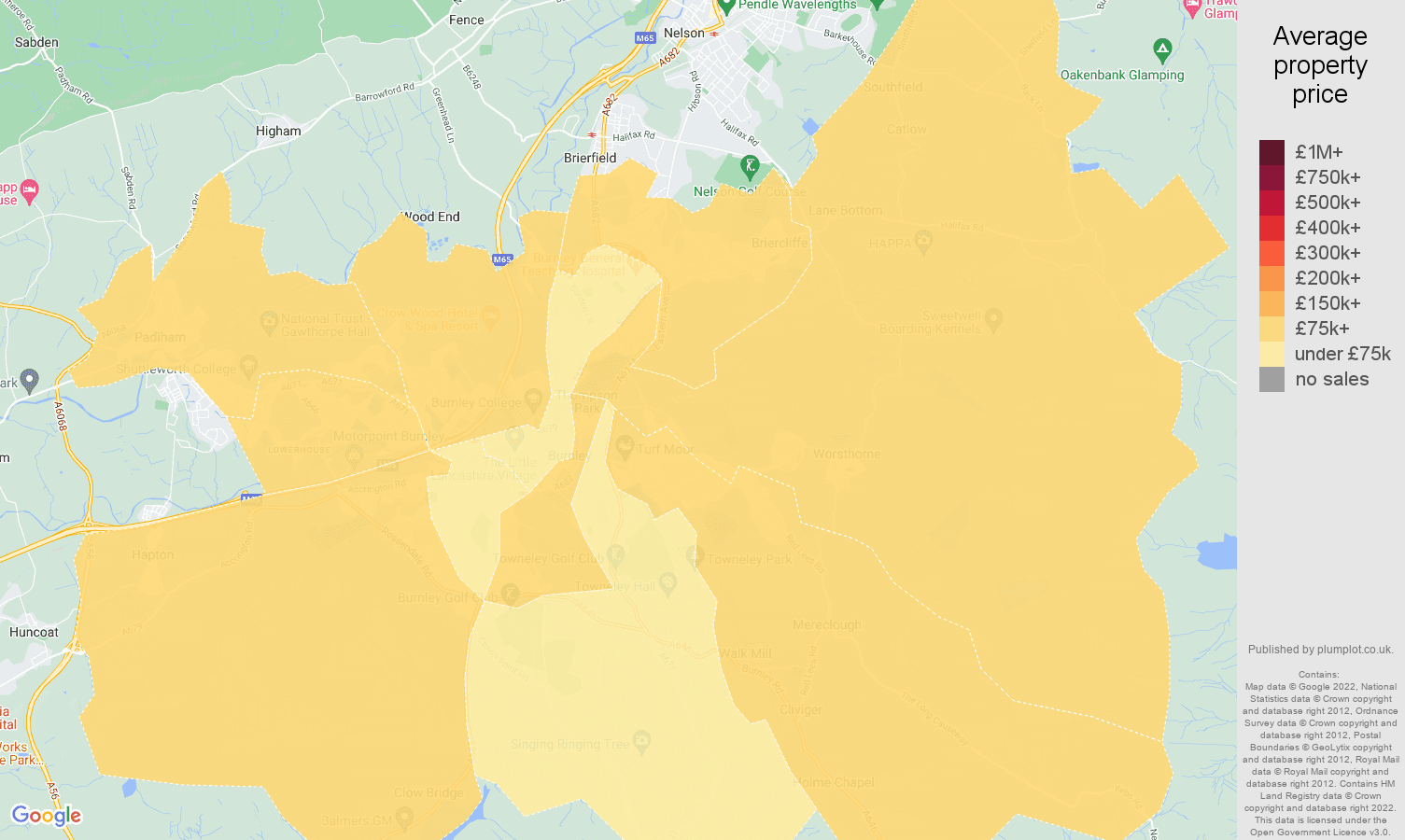 Burnley house prices map