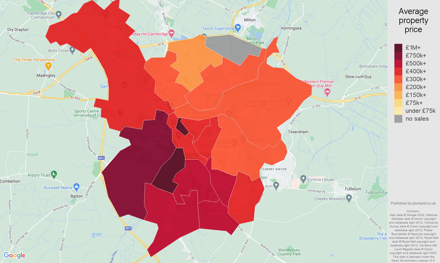 Cambridge house prices map