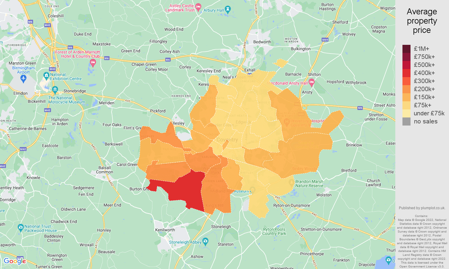 Coventry house prices map